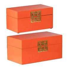 Decorative Boxes Orange Set Of 2