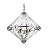 Visconte Corsica 7 Light Glass Rod Ceiling Pendant, Chrome