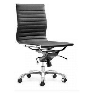 Modern L Ribbed Mid Back Armless Management Office Chair, Black