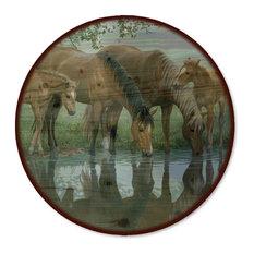 "Lazy Susan, Sweet Spring Horses, 18"" Diameter"
