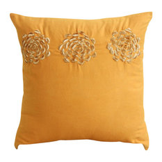Origami Flower Pillow Cover, Faux Suede Fabric Pillow Cover 16x16, Gold Sawaan