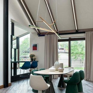 Свежая идея для дизайна: столовая в современном стиле с белыми стенами, коричневым полом и сводчатым потолком без камина - отличное фото интерьера