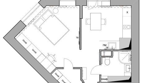 До и после: 35 кв.м. — пятиугольная квартира