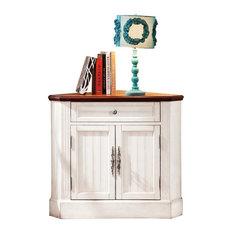 Farmhouse Corner Accent Cabinet Distressed Triangle Cabinet with Doors White