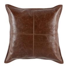 """Kosas - Kosas Home Cheyenne 100% Leather 22"""" Throw Pillow, Brown - Decorative Pillows"""