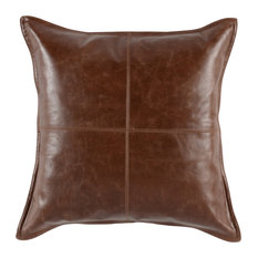 """Cheyenne 100% Leather 22"""" Throw Pillow, Brown by Kosas Home"""