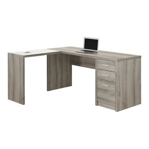 Contemporary L-Shaped Corner Computer Desk with Tempered Glass, Dark Taupe