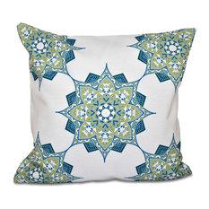 "Rhapsody, Geometric Outdoor Pillow, Green, 20""x20"""