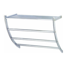 Wall Mounted Bathroom Shelf With Towel Rail, Stainless Steel With Chrome Finish