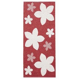 Flower Woven Vinyl Floor Cloth, Red, 150x150 cm