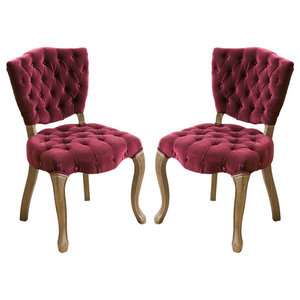 GDF Studio Violetta Tufted Velvet Dining Chair with Cabriole Legs (Set of 2)