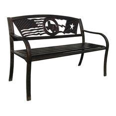 Leigh Country   Flags Over Texas Metal Bench   Outdoor Benches