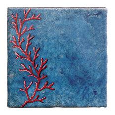 Coral Reef Decorative Tiles, Blue, Set of 4