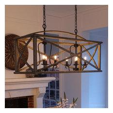 "Luxury Farmhouse Chandelier, 19.5""H x 40.75""W, Wood Grain with Antique Black"