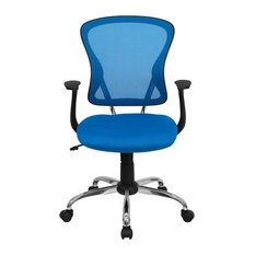 Flash Furniture Mid-Back Blue Mesh Office Chair With Chrome Finished Base