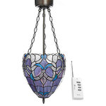 River of Goods - Summit Hill LED Pendant Light With Remote, Violet - This stained glass pendant is not only gorgeous, but also easy to setup and control with a remote!  This dazzling design was inspired by the Grandeur of Diamonds. This new technology, wireless pendant includes a battery box, three LED bulbs and a remote (requires 3, C and 1 A23 batteries, not included). More than 165 hand-cut glass and rosette cabochons are designed into a statement piece for your home. This one of a kind fixture provides a soft, ambient lighting for your dining room, foyer, bathroom, bedroom, walk-in closet or hallway that is sure to steal the show.