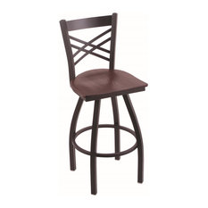 820 Catalina 30-inch Bar Stool Black Wrinkle Finish Dark Cherry Oak Seat