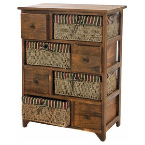Traditional Chest of Drawers in Brown Oak Wood with 4 Drawers and 4 Baskets