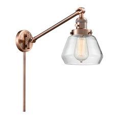 Fulton 1-Light LED Swing Arm Light, Antique Copper, Glass: Clear
