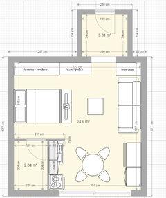 help d placer une cuisine dans un studio et l 39 am nager en 2 pi ces. Black Bedroom Furniture Sets. Home Design Ideas