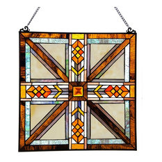 """17.5"""" Stained Glass Southwestern Mission Style Window Panel, Amber"""