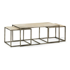 Hammary Furniture - Hammary Modern Basics Rectangular Cocktail Table with  Textured Bronze Base - Coffee Tables