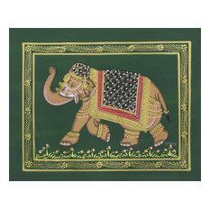 Green Majestic Elephant Miniature Painting
