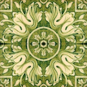 Lucia Green and White Handpainted Terracotta Tile