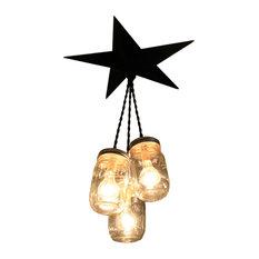 Mason 3-Jar Barn Star Chandelier, Black