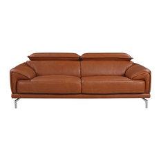 Sofamania Mid Century Modern Sofa With Adjule Headrest Italian Leather Camel