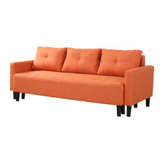 Furniture Import Export Inc Charlotte Functional Convertible Sofa Bed Futon Orange