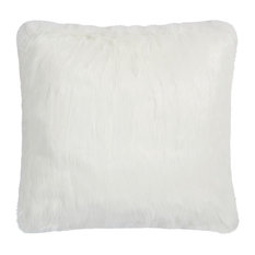 "Mina Victory Fur Remen Faux Fur Pillow, White, 26""x26"""