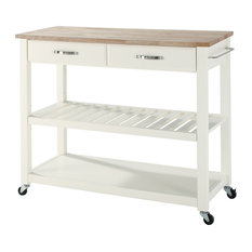 Natural Wood Top Kitchen Cart/Island With Optional Stool Storage, White Finish