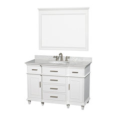 "Berkeley 48"" Bathroom Vanity, White, 44"" Mirror, White Carrera Marble Top"