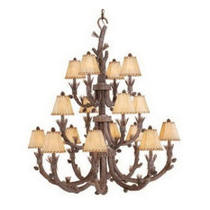 Rustic 16-Light Pine Tree Chandelier With Shades