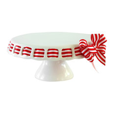 Prissy Plates - Round Pedestal Cake Stand, Red and White Stripe With Ribbon - Dessert and Cake Stands
