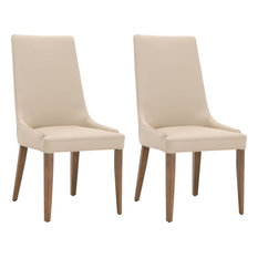 Aurora Dining Chair (Set of 2) - Flaxen Leather, Walnut