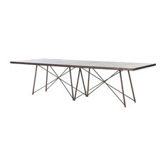 """French Industrial Geometric Large Oxidized Aged Iron Dining Table, 114"""""""