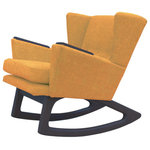 Lewis Interiors - Mid Century Modern Handcrafted Rocking Chair Wingback Rocker Mustard Yellow Gold - A twist on one of our most popular mid century modern chairs, our Short Back Rocker (SBR) chair is absolutely fabulous in every way!  Featuring a low back club style mid century inspired design, this designer rocking chair is a showcase piece for any collection, and will be the centerpiece in any room of your home. This is NOT your grandmother's rocking chair!  With Lewis Interiors behind you, you can finally move beyond mass produced mid century modern chairs by opting instead for your own handcrafted piece of modern retro Americana. In this regard, our SBR chair is as unique and timeless as you are!