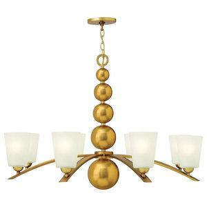Decorative 8-Light Ball Chandelier, Vintage Brass