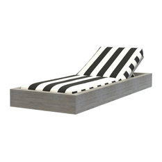 Brixton Teak Chaise, Wire Brushed Gray, Cabana Classic