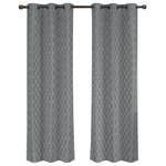 """Royal Tradition - Willow Thermal Blackout Curtains With Grommets, Set of 2, Gray, 84""""x96"""" - Add splendor and classiness to any room with these dazzling jacquard panels. The stylish geometric pattern of these floor-length curtains conveys a refined and classic look to your home. Containing a pole pocket design, these jacquard curtains are well-suited with traditional curtain rods, allowing you to change your room easily. This trendy and functional curtain panel pair is thermal-insulated, blocks out the glaring sunlight during the hot summer months, and keeps cold drafts adrift. Block unwanted light and protect your room against outside temperatures with these thermal blackout curtains. These energy saving curtains are both beautiful and practical. The simple, attractive styling complements any decor, and the grommet top offers easy installation. Slip a decorative rod through the grommets to quickly create a classic gathered look. The curtains are machine washable for easy care."""