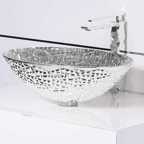Handmade Crystal Cut Bathroom Vessel Sink | Silver   Bathroom Sinks