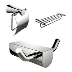 Modern Multi-Rod Towel Rack With Robe Hook And Toilet Paper Holder Accessory Set