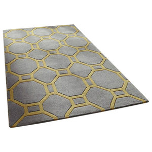 Hong Kong HK4338 Grid Rug, Grey Yellow, 150x230 cm