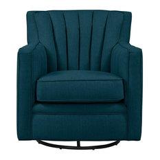 Zerk Swivel Arm Chair, Peacock Blue Linen