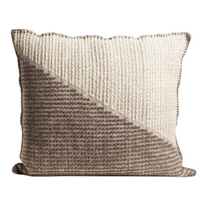 Handmade Square Brutrach Wool Cushion by The Good Shepherd, Grey and White