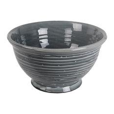 Privilege International Ribbed Ceramic Bowl, Gray, Large
