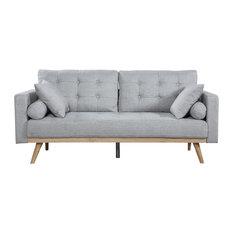 Divano Roma Furniture - Mid-Century Modern Tufted Linen Fabric Sofa, Light  Grey -