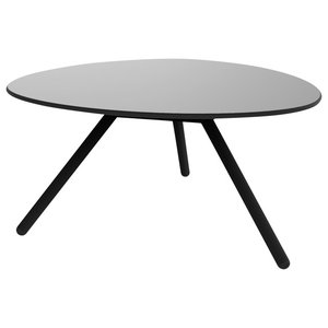 Wide A-Lowha Side Table, Grey, Black Frame